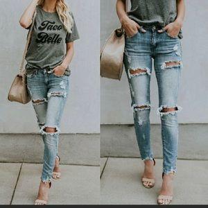 Denim - DAISY JANE  Distressed Skinny Jeans